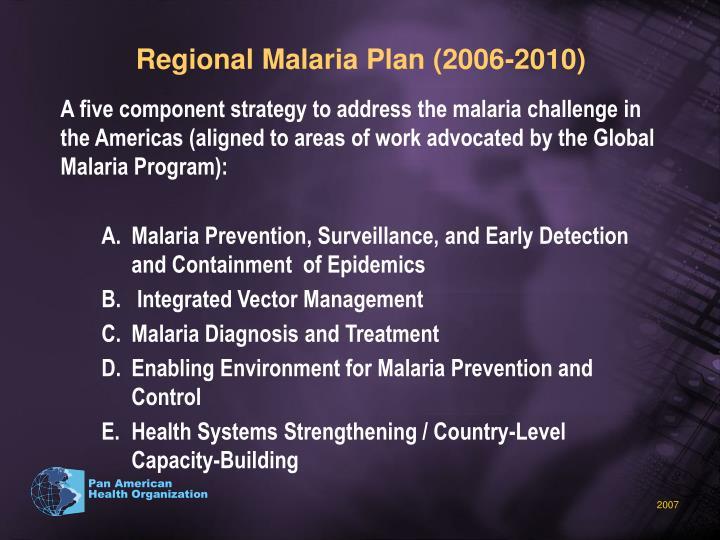 Regional Malaria Plan (2006-2010)
