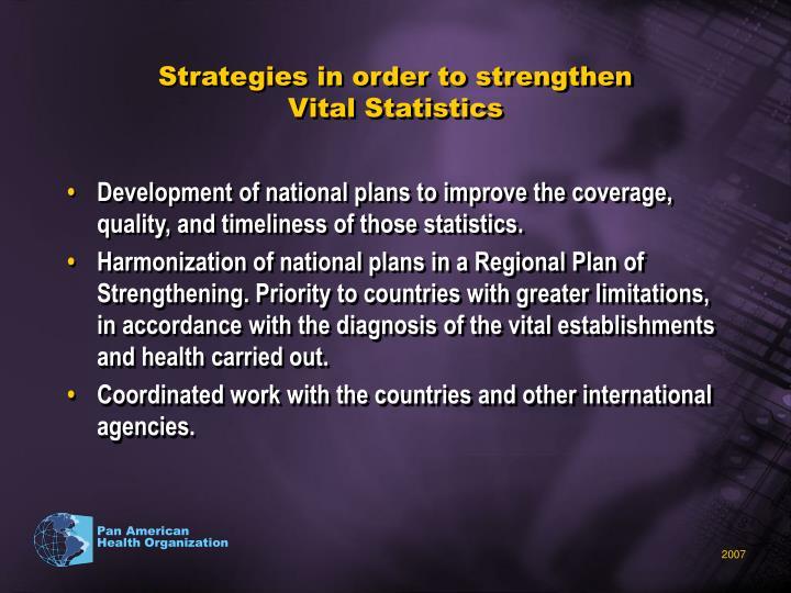 Strategies in order to strengthen