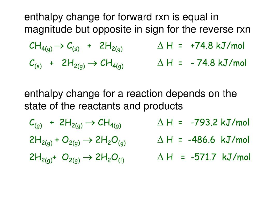enthalpy change for forward rxn is equal in magnitude but opposite in sign for the reverse rxn