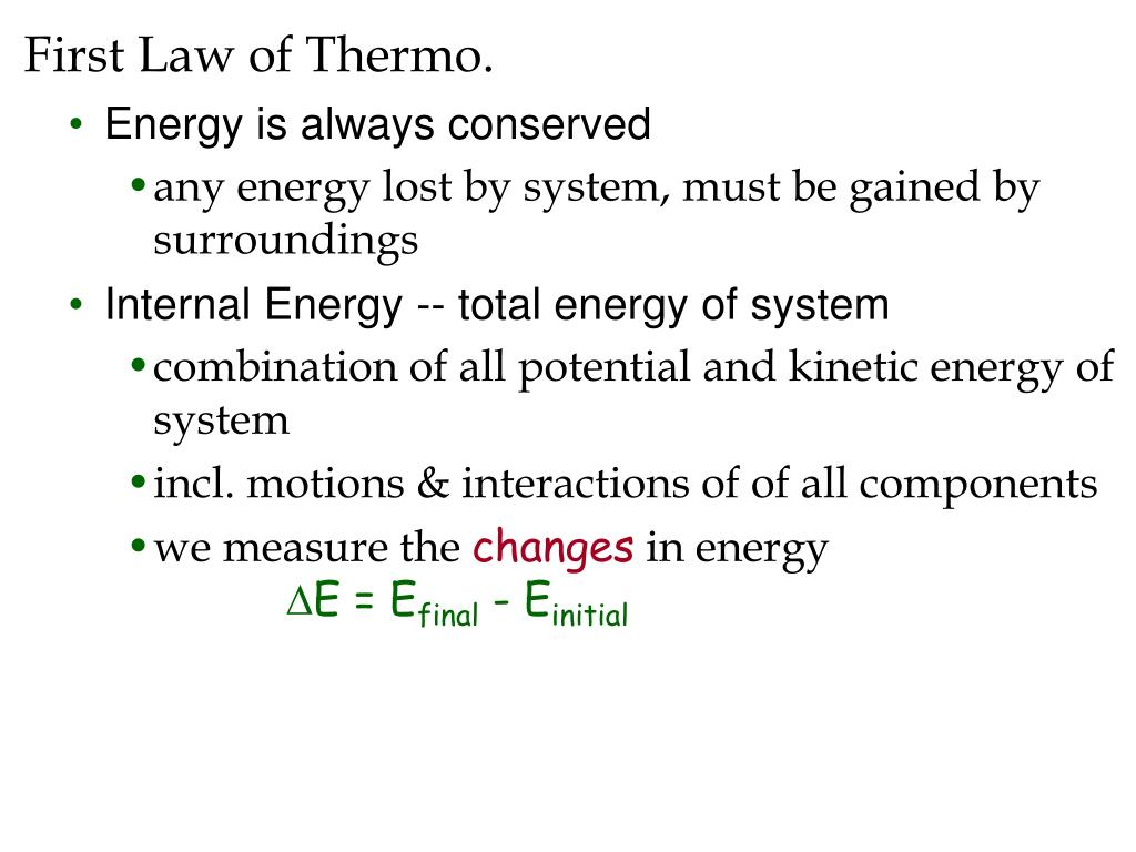 First Law of Thermo.