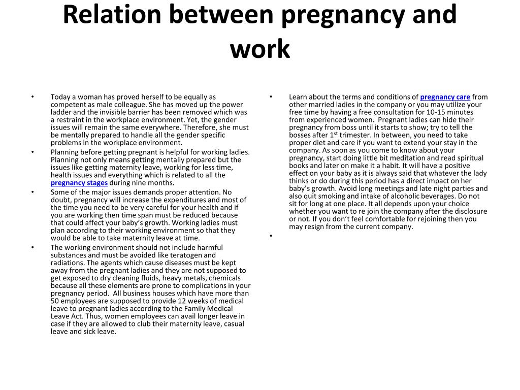 Relation between pregnancy and work