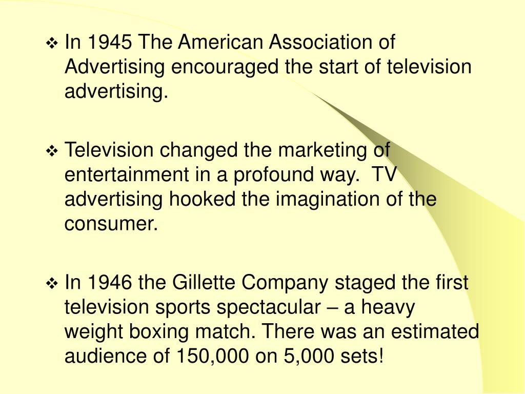 In 1945 The American Association of Advertising encouraged the start of television advertising.