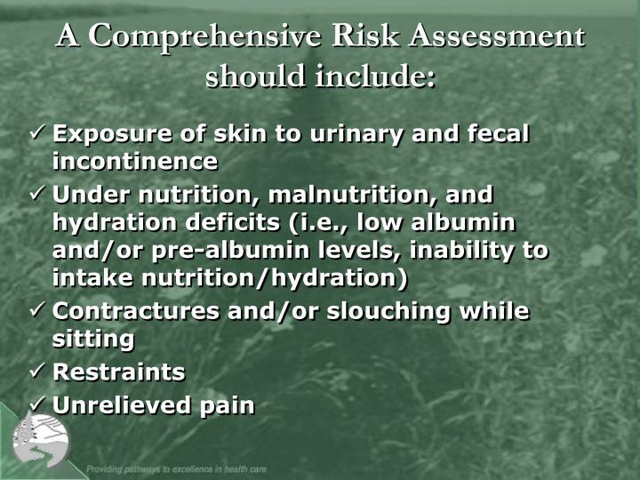 A Comprehensive Risk Assessment should include: