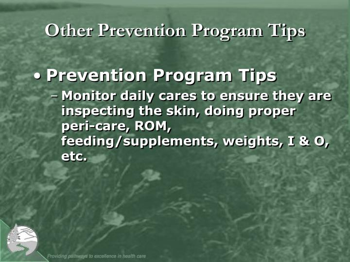 Other Prevention Program Tips