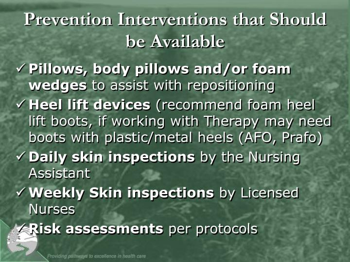Prevention Interventions that Should be Available