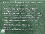 prevention interventions that should be available4
