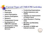 current types of cme cpd activities