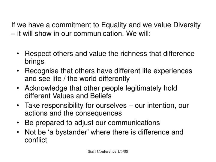 If we have a commitment to Equality and we value Diversity – it will show in our communication. We...