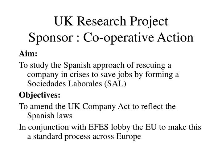 Uk research project sponsor co operative action