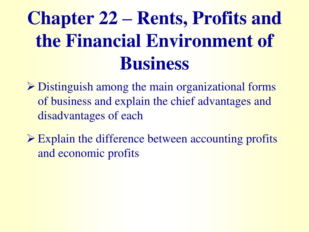 chapter 22 rents profits and the financial environment of business l.