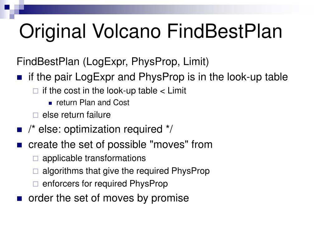 Original Volcano FindBestPlan