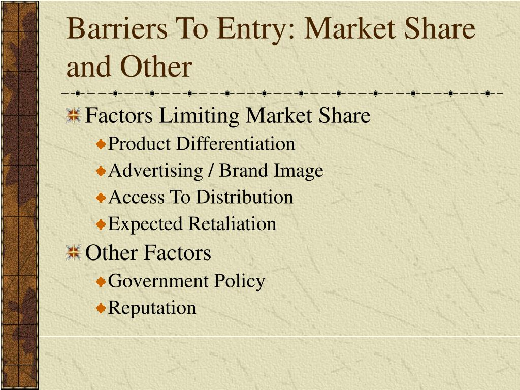 Barriers To Entry: Market Share and Other