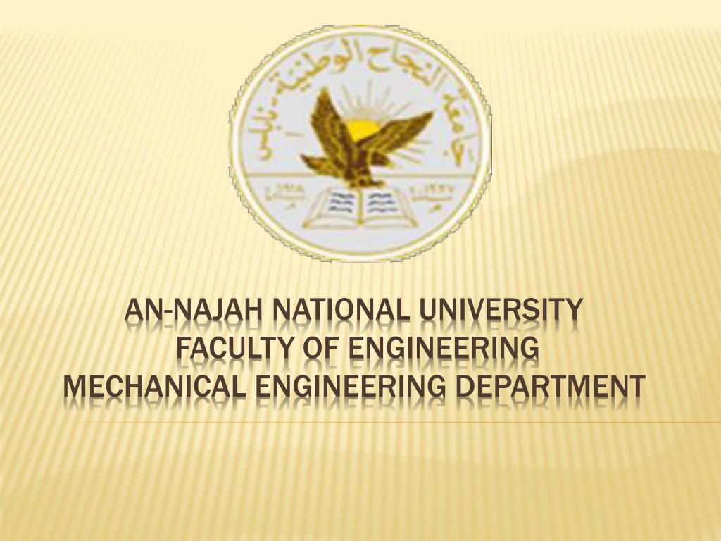 an najah national university faculty of engineering mechanical engineering department