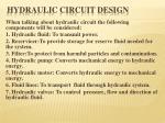 hydraulic circuit design