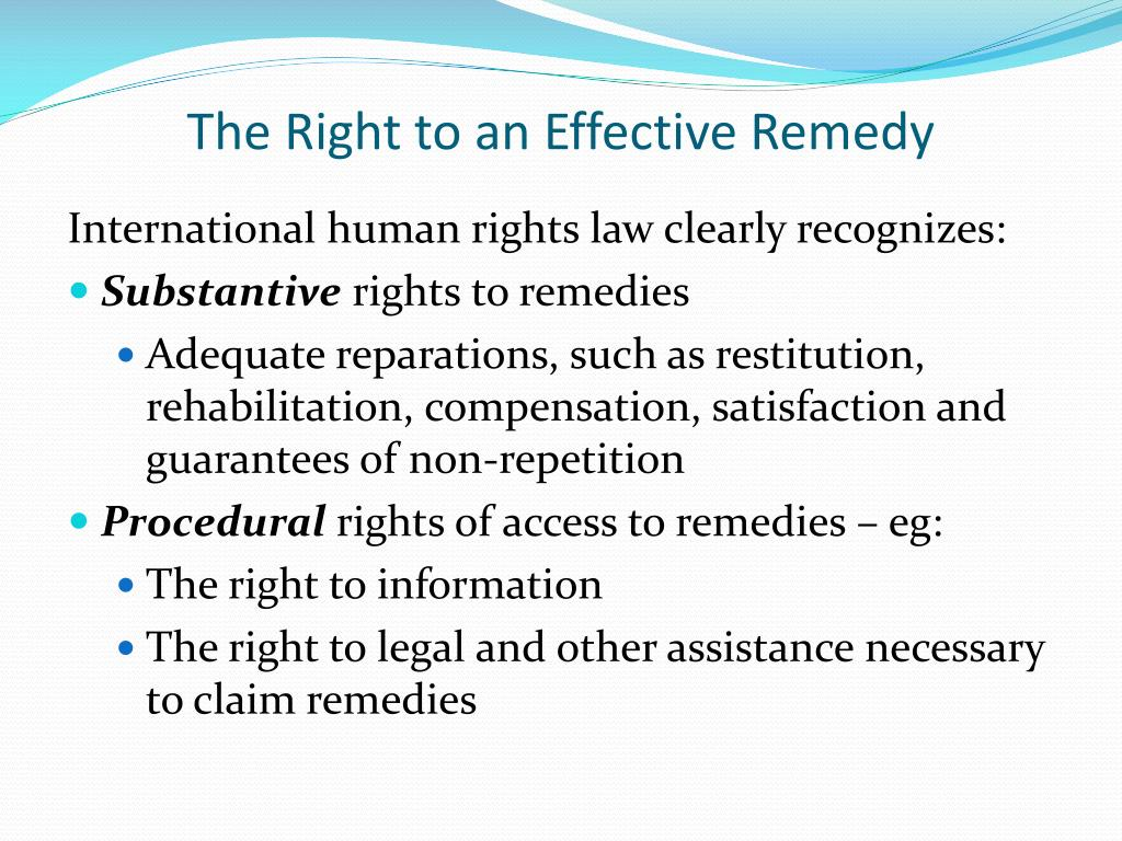 The Right to an Effective Remedy