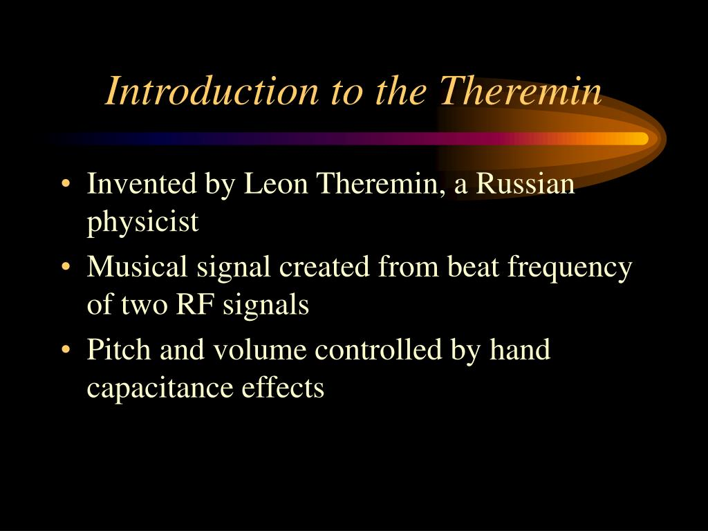 Introduction to the Theremin