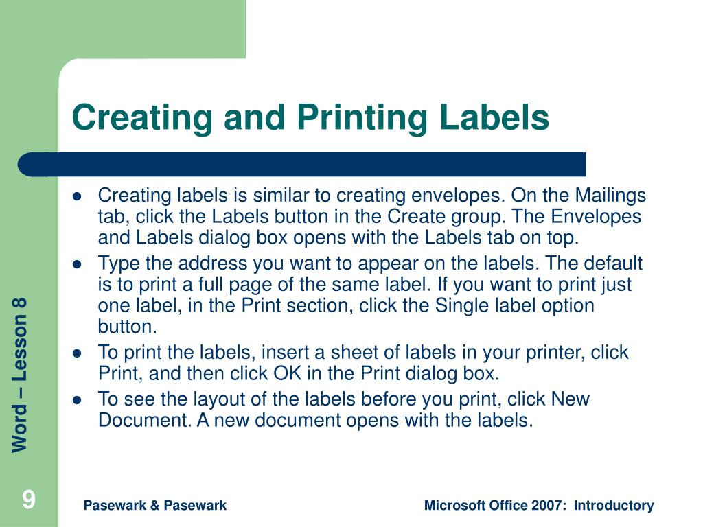 Creating and Printing Labels
