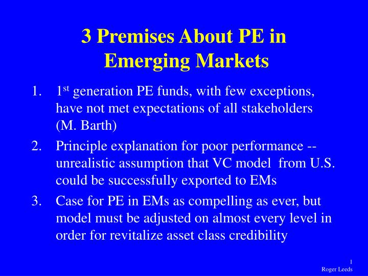 3 premises about pe in emerging markets