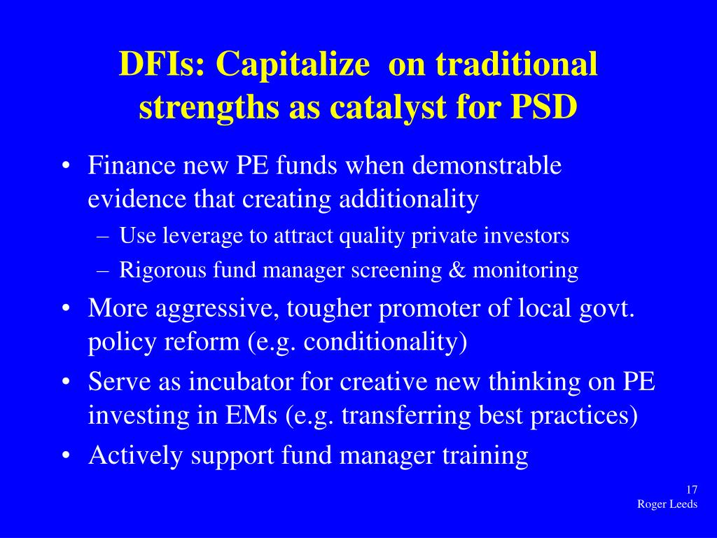 DFIs: Capitalize  on traditional strengths as catalyst for PSD