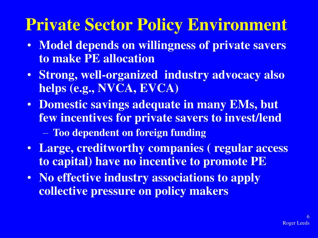 Private Sector Policy Environment