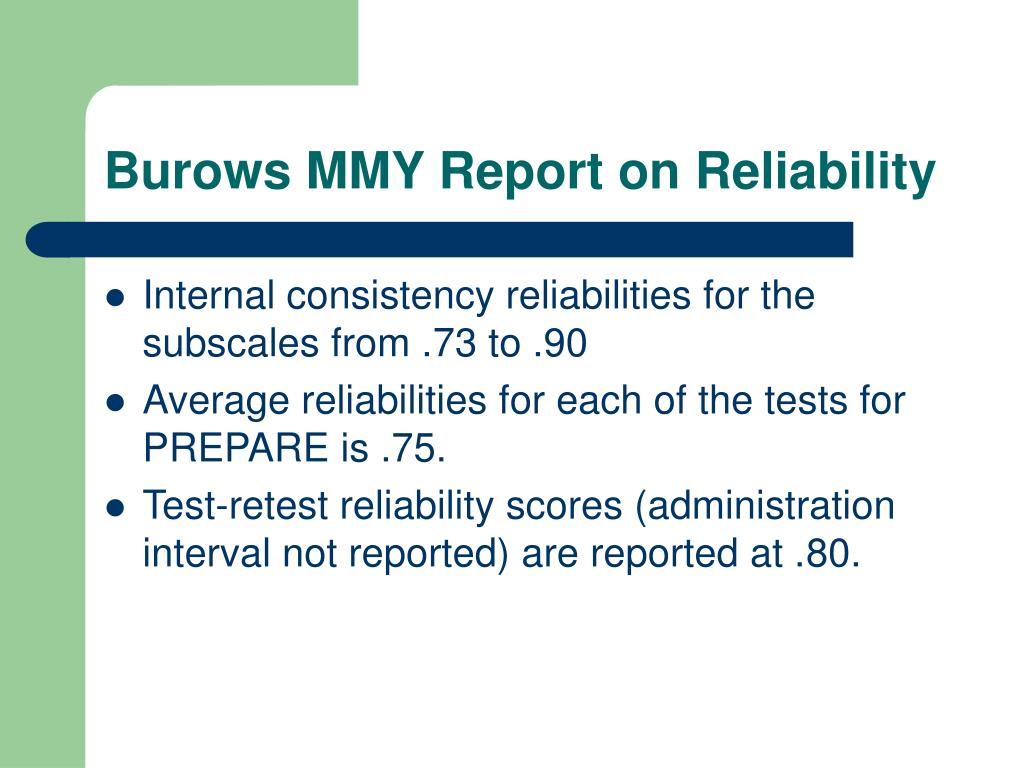 Burows MMY Report on Reliability