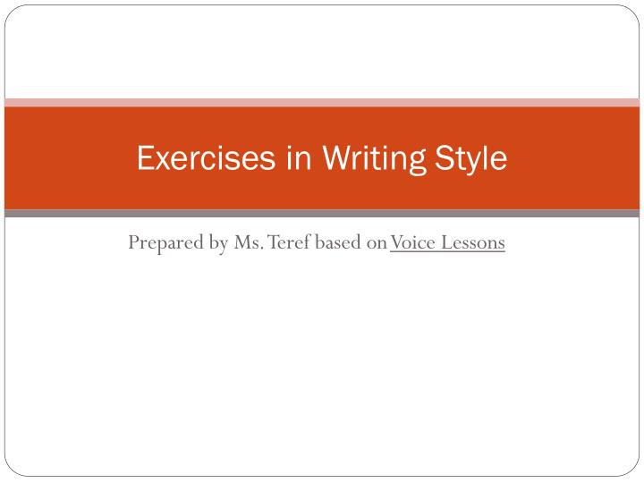 exercises in writing style n.
