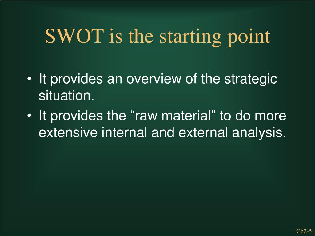 It provides an overview of the strategic situation.