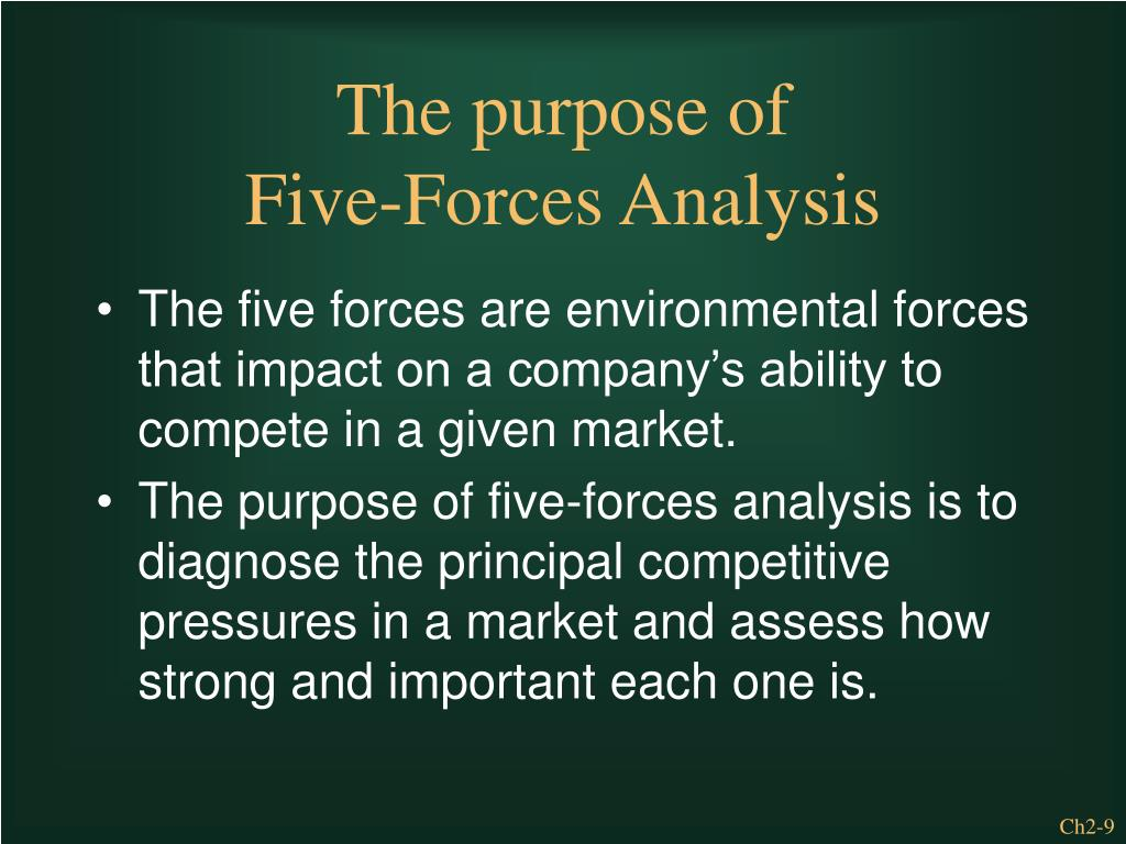 The five forces are environmental forces that impact on a company's ability to compete in a given market.