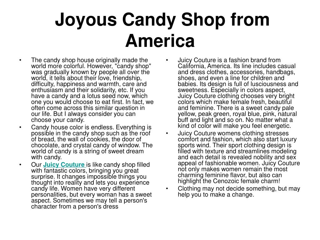 joyous candy shop from america l.