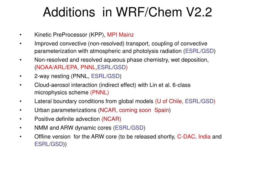 Additions  in WRF/Chem V2.2