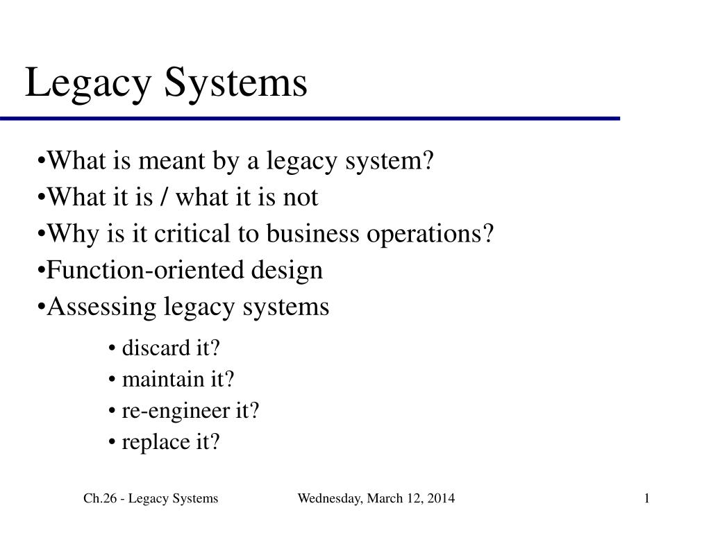 legacy systems l.