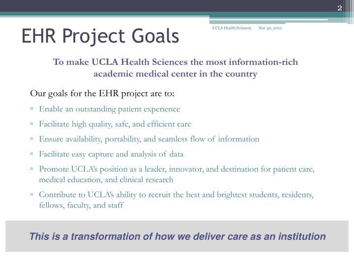 Ehr project goals