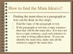 how to find the main idea s