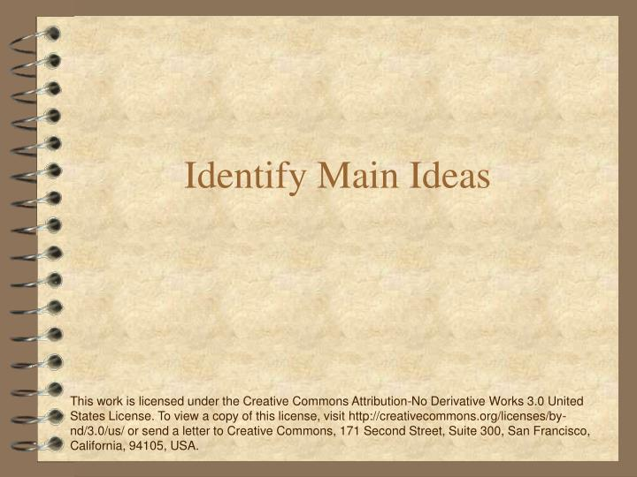 identify main ideas n.