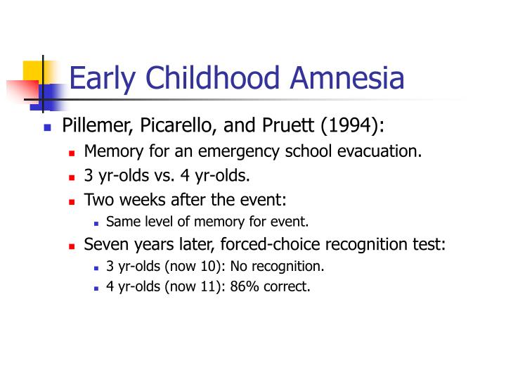 childhood amnesia essay Essay on childhood amnesia - childhood amnesia a fundamental aspect of human memory is that the more time elapsed since an event, the fainter the memory becomes this has been shown to be true on a relatively linear scale with the exception of our first three to four years of life (fitzgerald, 1991.