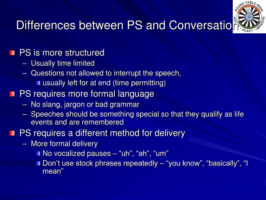 Differences between PS and Conversation