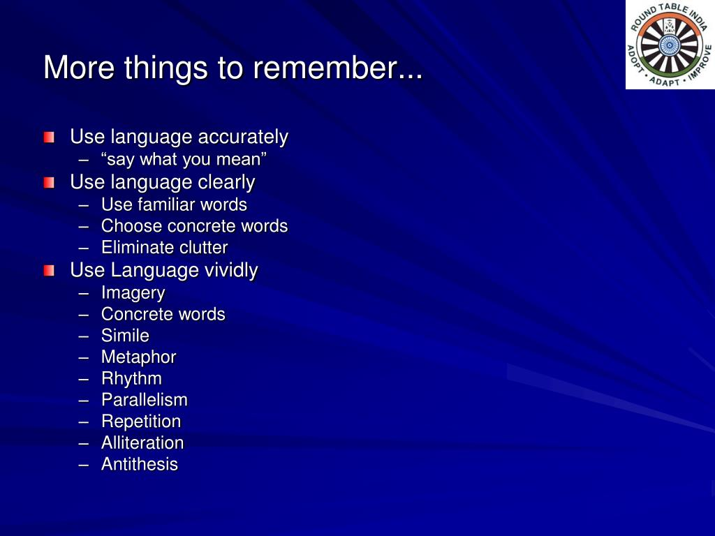 More things to remember...