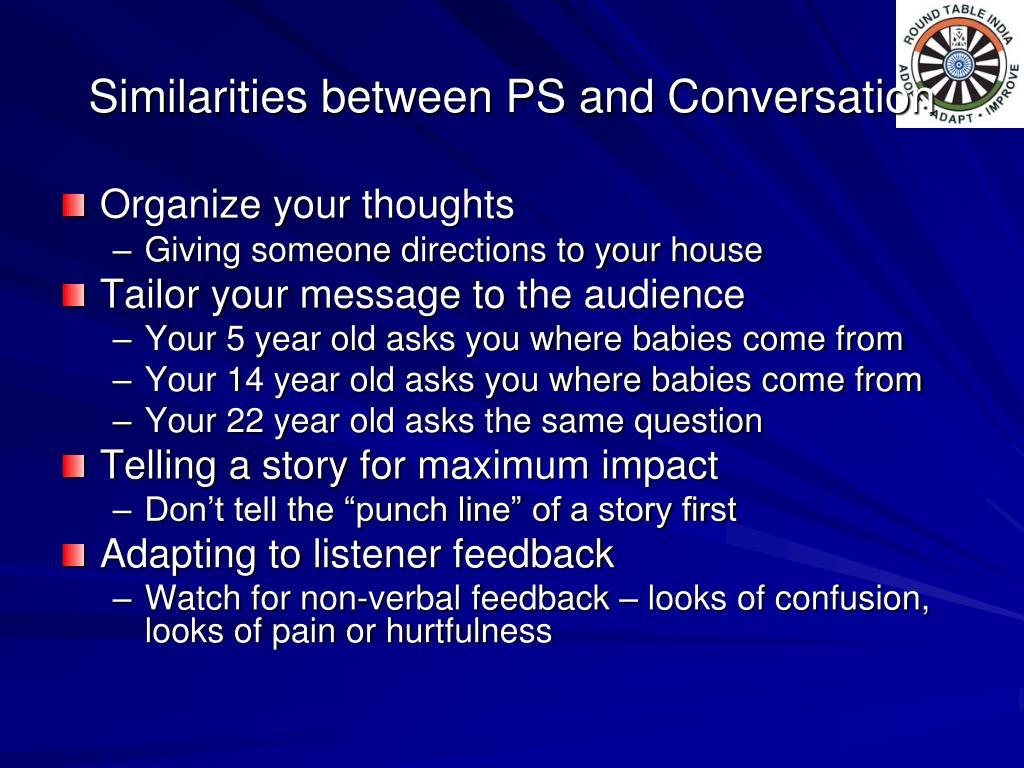 Similarities between PS and Conversation