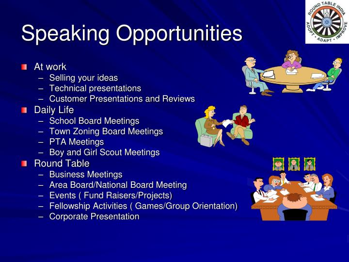 Speaking opportunities