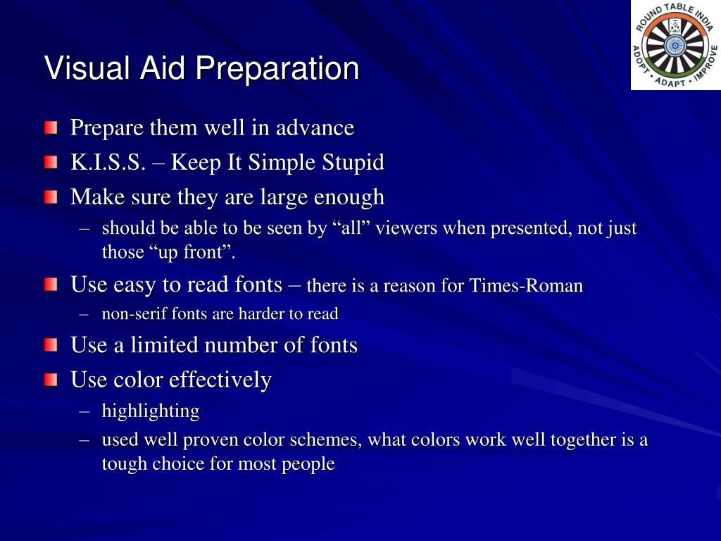 Visual Aid Preparation