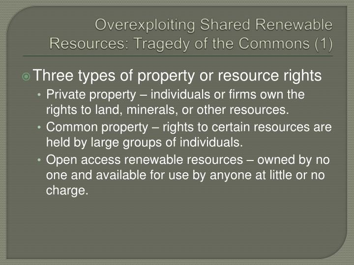 Overexploiting Shared Renewable Resources: Tragedy of the Commons (1)