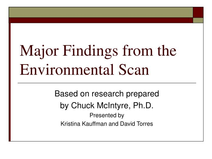 major findings from the environmental scan n.