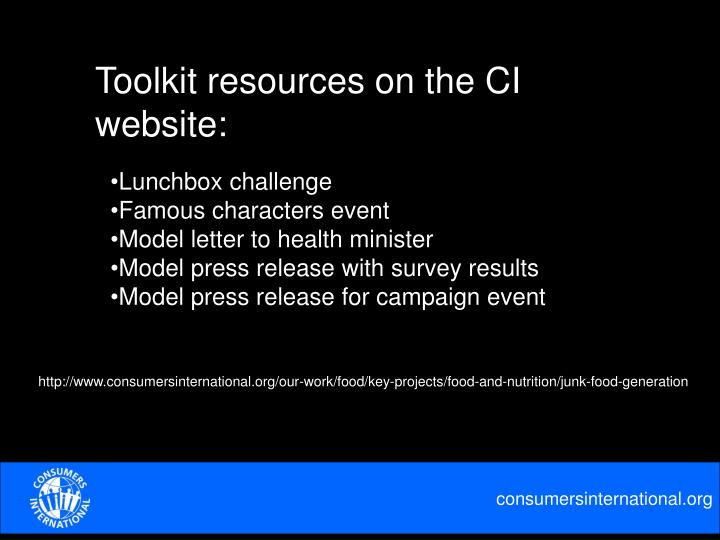 Toolkit resources on the CI website: