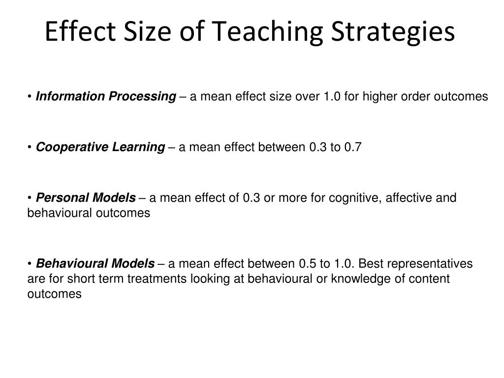 Effect Size of Teaching Strategies