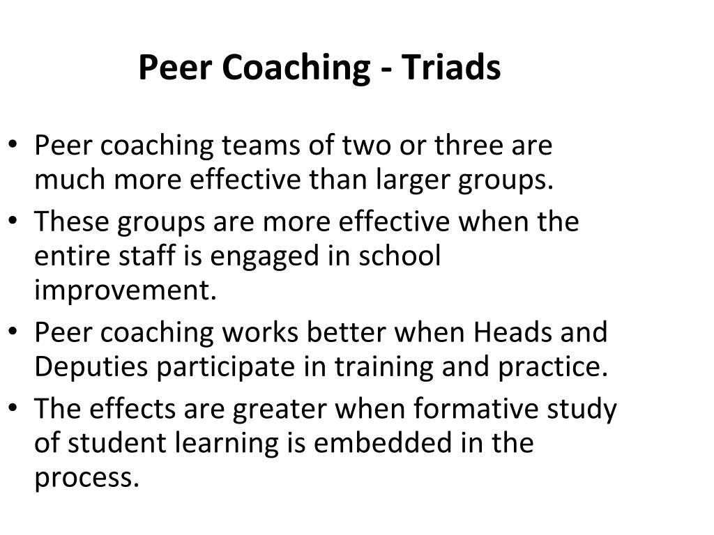 Peer Coaching - Triads