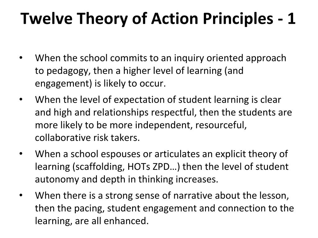 Twelve Theory of Action Principles - 1