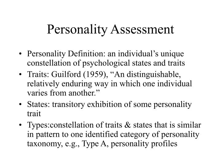 personality assessment n.