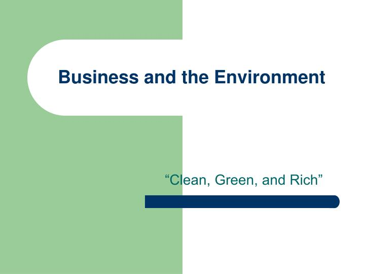 business and the environment n.