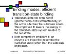 binding modes efficient transition state binding