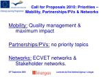 call for proposals 2010 priorities mobility partnerships pvs networks
